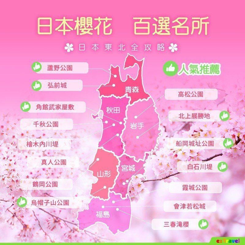 日本櫻花百選名所,日本東北全攻略。  圖/易遊網提供