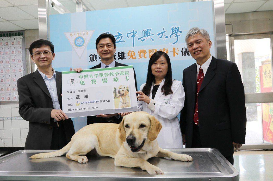 參與花蓮地震救災的搜救犬「鐵雄」好多了!興大送3年「免費醫療卡」。記者喻文玟/攝...