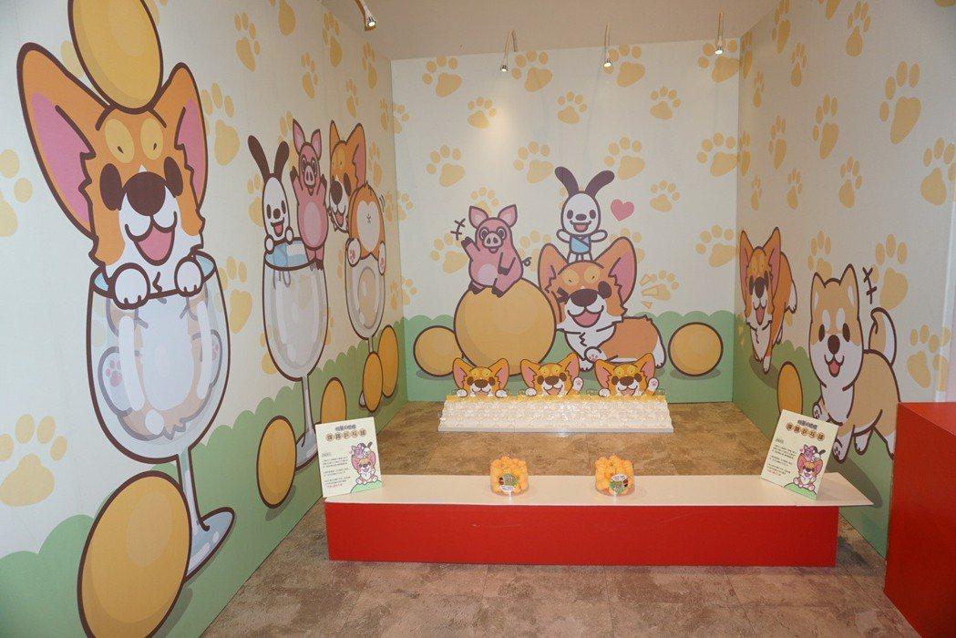 椪妹&柯基犬椪椪愛說畫展區有彈跳乒乓球遊戲。記者黃筱晴/攝影