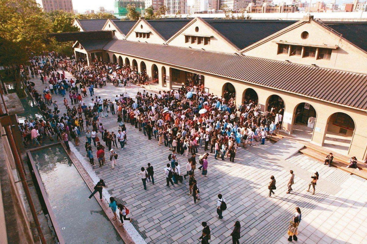 台北市主要觀光遊憩區遊客人數調查結果出爐,松山文創園區以591萬餘人次,位居第一,這也是松菸文創園區首次躍上第一名寶座。 圖/北市府文化局提供