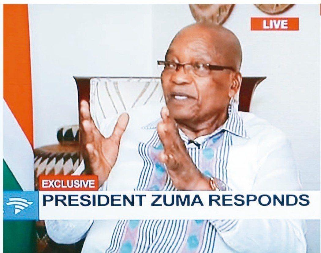 南非總統祖馬14日接受電視專訪,砲轟執政黨要他辭職非常不公平。 (歐新社)