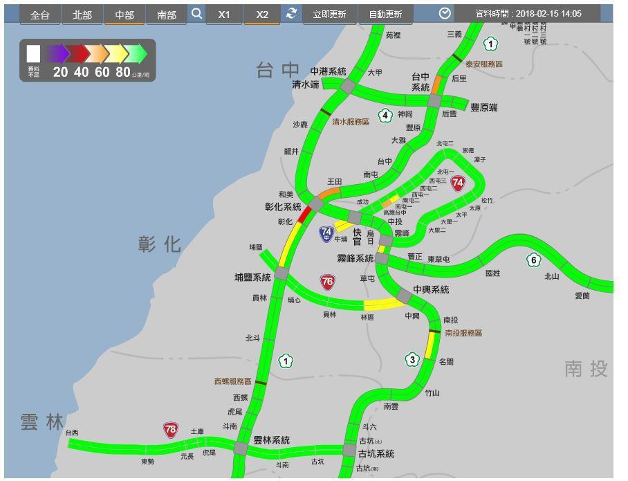 國1南下196至198公里處 彰化系統─彰化, 車多流量大 ,時速30到40公里...