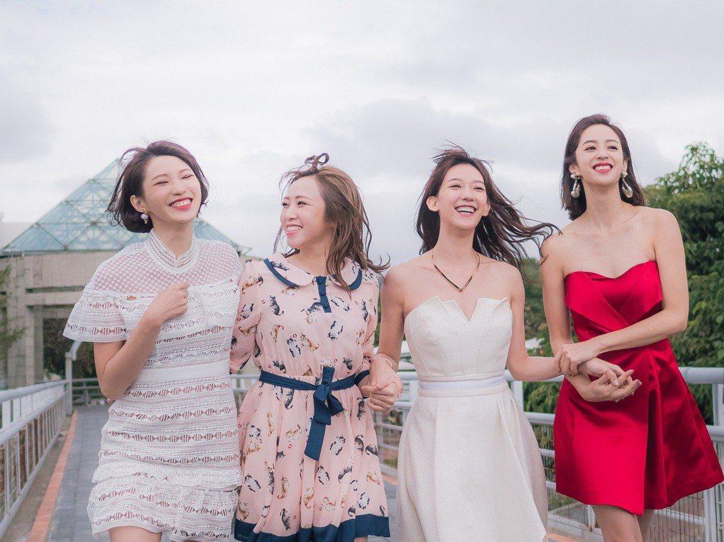 莫允雯(右起)、孟耿如、鄭茵聲、王牧語為新戲「高塔公主」拍攝預告片。圖/東森提供