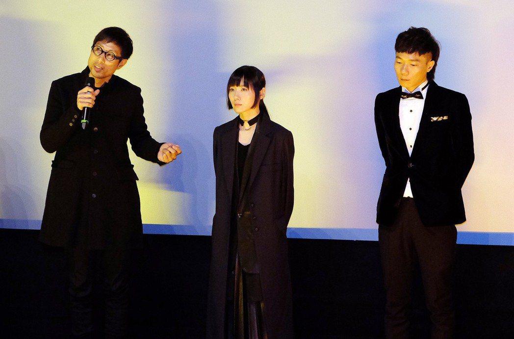 導演黃榮昇、演員饒星星和創作配樂的盧律銘(左起),一同出席「小美」在柏林影展的首