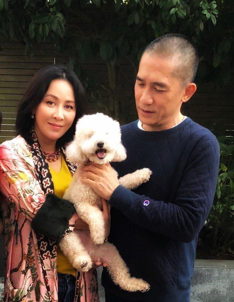梁朝偉(右)與妻子劉嘉玲(左)、愛犬一同合照。圖/摘自微博