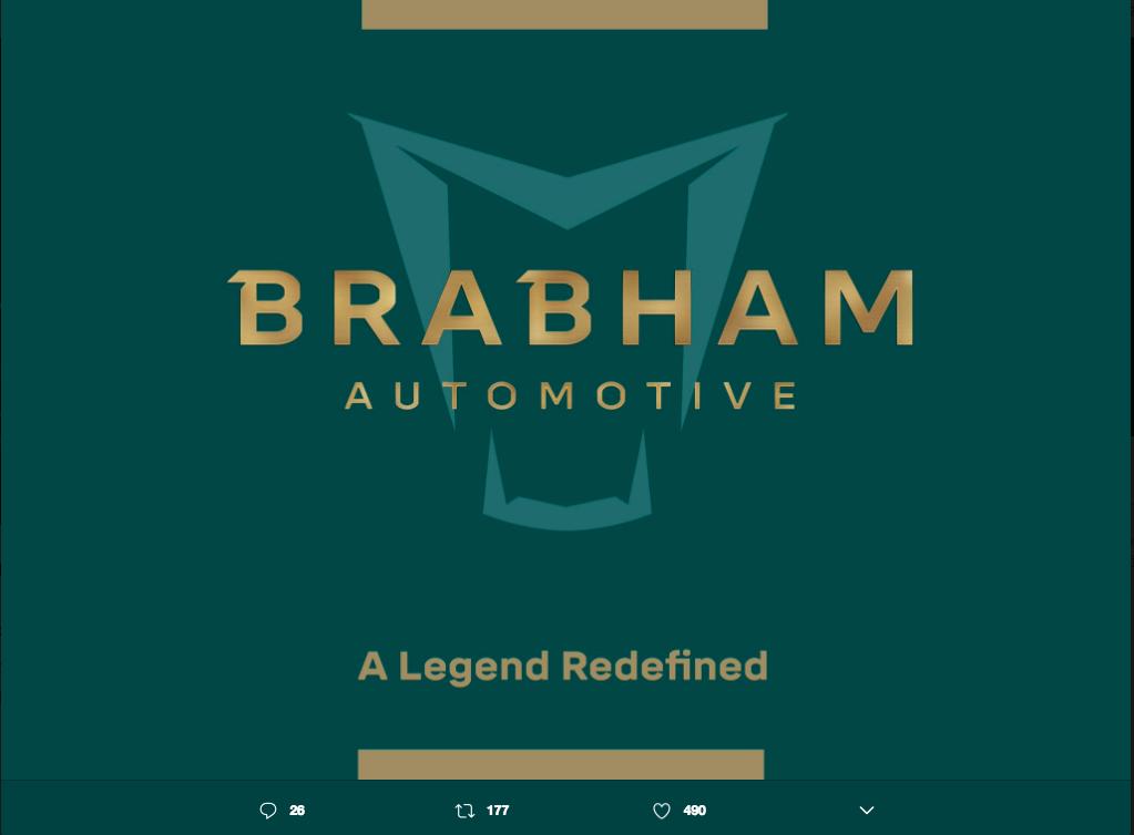 Brabham Automotive 日前於 Twitter 公布一張「A Legend Redefined」的圖片,希望能藉由推出新作,在一般道路用車及賽場上重返榮耀。 摘自 Twitter
