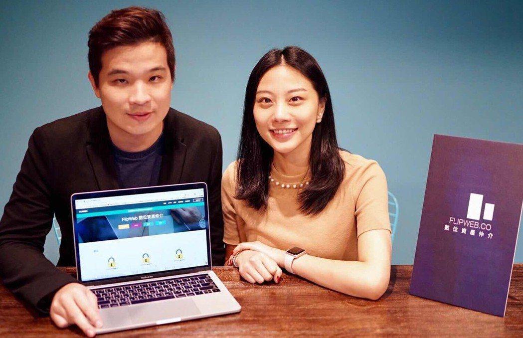 FlipWeb共同創辦人姐弟林妍廷(右)與林克威(左),創立數位資產仲介是一個全...