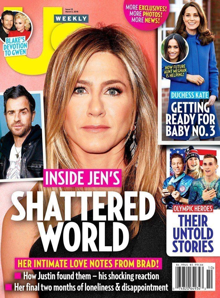 珍妮佛安妮絲頓婚變登上各大雜誌封面。圖/摘自US