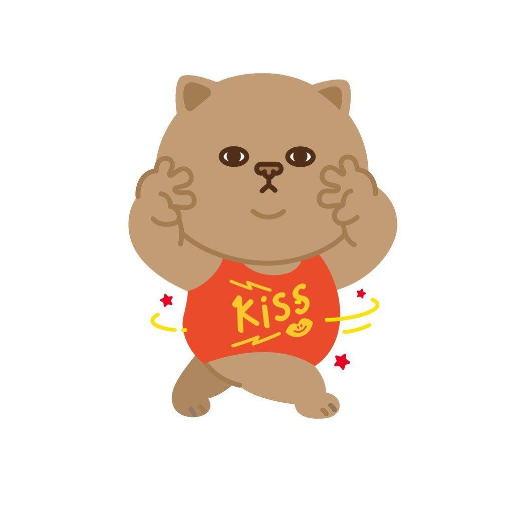 「肥貓吻吻」LINE官方貼圖於2/27上架。(圖/文 聯合數位文創提供)