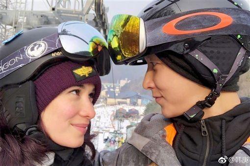 韓庚與盧靖姍正在熱戀。圖/摘自微博