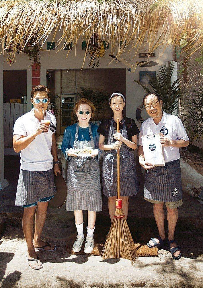 由李瑞鎮(左起)、尹汝貞、鄭有美、申久打造「尹食堂」第一季。圖/東森戲劇台提供