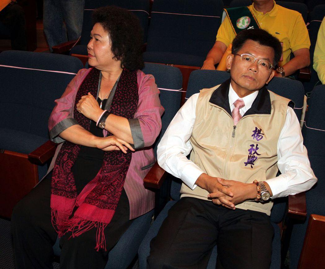 楊秋興(右)與陳菊曾情同姐弟,如今形同陌路。 圖/聯合報系資料照片
