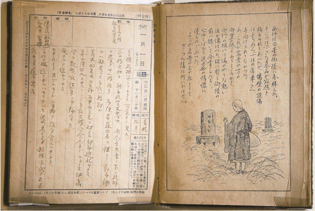 阮朝日失踪後,其遺物多半遭燒毀,這本日記是少數被留下的。此頁為1938年1月1日,阮朝日寫下阮美姝在新年時著和服時的可愛模樣。 圖/臺灣歷史博物館提供