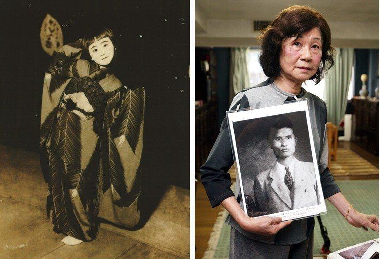 左圖為1937年4月24日臺北公會堂(今中山堂)舉辦落成典禮,阮美姝獲選為臺北市民代表,上臺表演獨舞。那年她9歲。右圖為2007年阮美姝拿著父親阮朝日的照片訴說二二八事件的慘狀。 圖/臺灣歷史博物館提供、聯合報系資料照