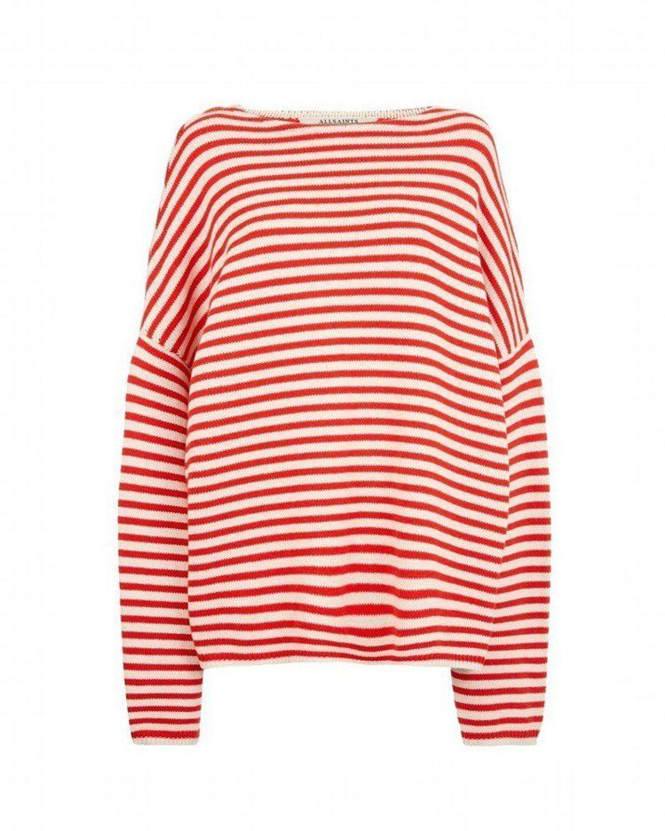 AllSaints亞洲限量系列Marcel紅白條紋針織上衣,約6,100元。圖/...