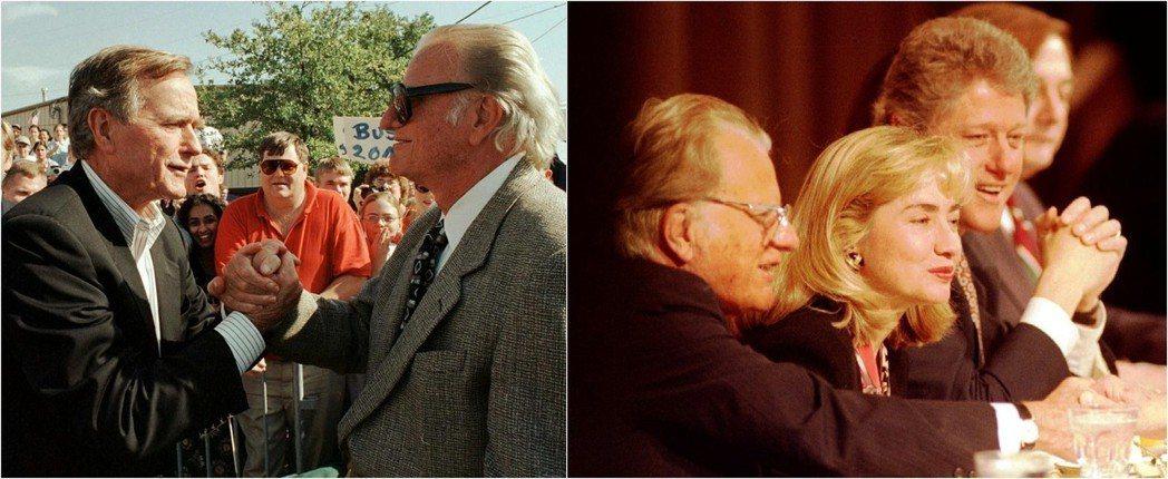 尼克森醜聞案,重創了葛理翰的聲譽,但他仍是歷任總統積極交好的「美國的牧師」。圖左...