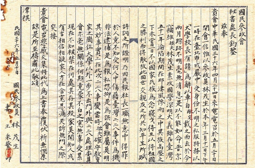 1946年林茂生當選國民參政員,因抗議做票辭退,但隔年4月仍收到開會通知。妻王采...