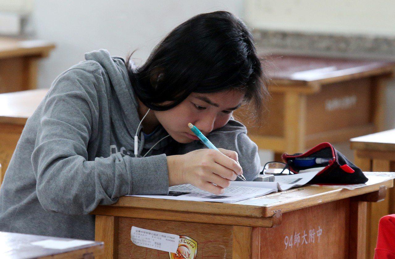 圖為高中英聽測驗考生。本報資料照/記者曾學仁攝影