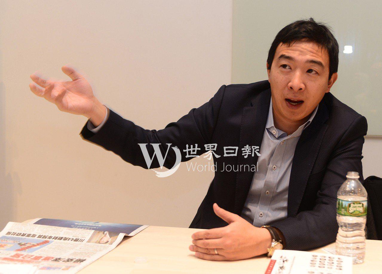 楊安澤暢談參選美國總統動機。 記者許振輝/攝影
