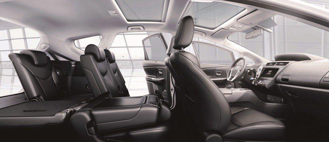 擁有彈性收納的座椅空間規劃是PRIUS α最大的特色之一。 圖/和泰汽車提供