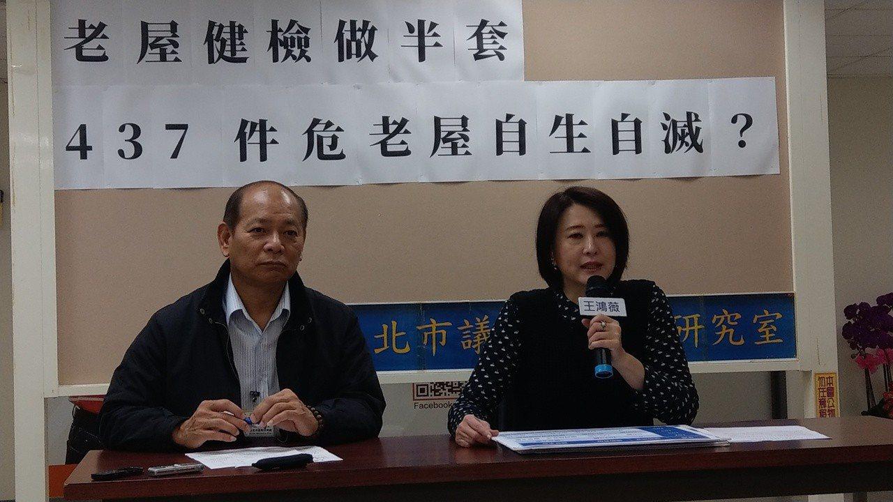 行政院近日公布老屋強制健檢擴大實施,但台北市議員王鴻薇發現,北市都發局近五年總計...