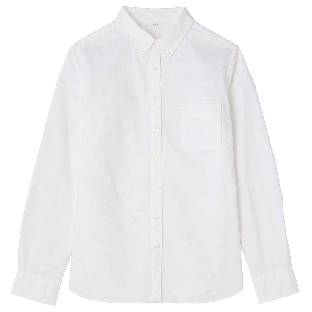 女有機棉牛津布水洗扣領襯衫,790元。圖/無印良品提供