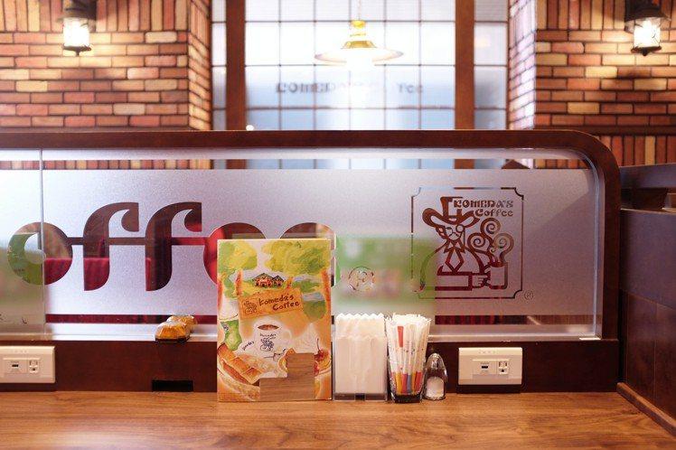 Komeda's Coffee設有單人、多人座位區,提供Wi-Fi、插座。圖/記...