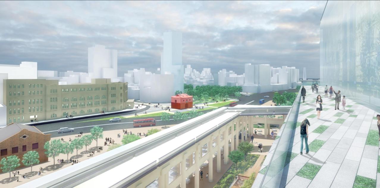 台北「雙子星」土地開發案備受注目,郝龍斌時代原本規劃一條空中迴廊,串接至台北車站...