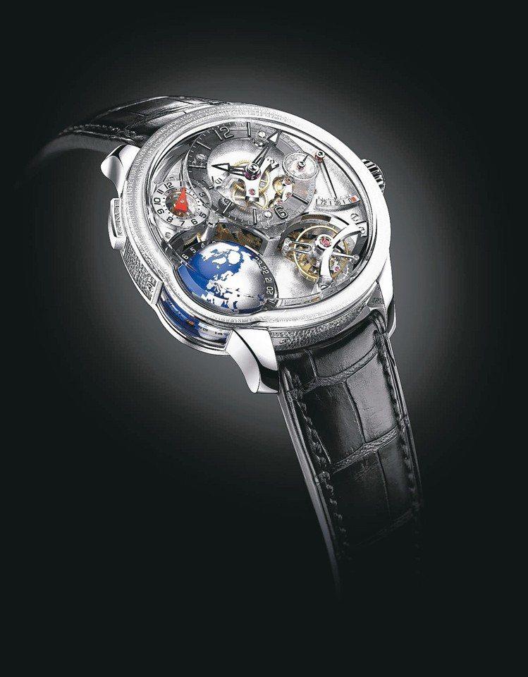 GMT Earth世界時區18K白金腕表,約2,050萬元。 圖/高珀富斯提供