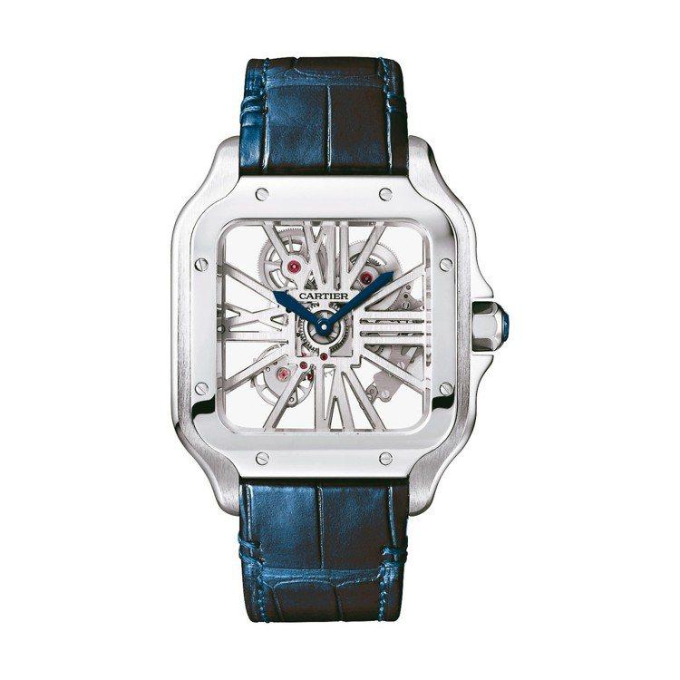 卡地亞全新一代Santos腕表配備可替換表帶與鍊帶的快拆設計,可自行拆組變化配戴...