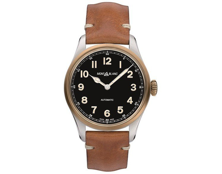 萬寶龍1858 系列自動腕表,不鏽鋼錶殼嶼青銅表圈、表冠,86,100元。圖/萬...