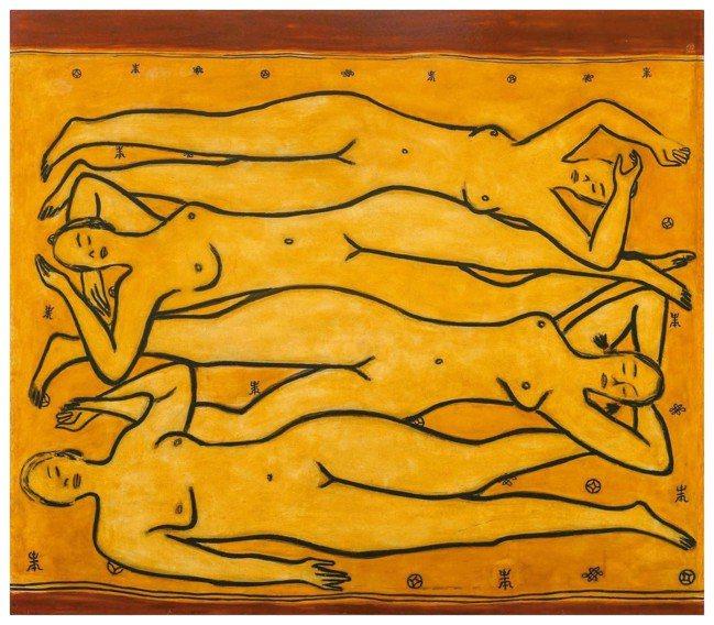 常玉「金毯上的四裸女」。 圖/史博館提供