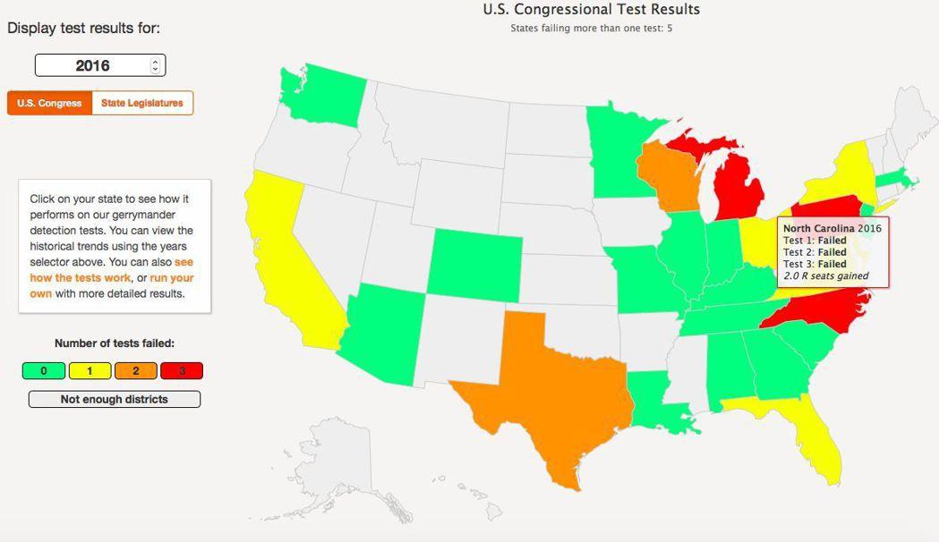 普林斯頓大學「傑利蠑螈」計畫網站測試,北卡羅來納州三項都失敗,顯示選區圖可能遭「...