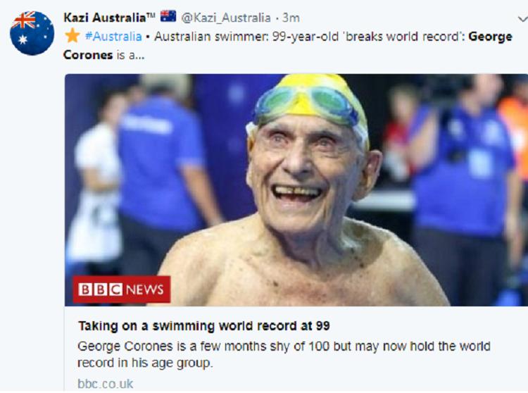 99歲澳洲老翁柯洛尼斯在上月28日大英國協運動會的游泳預賽中,以56秒12打破男...
