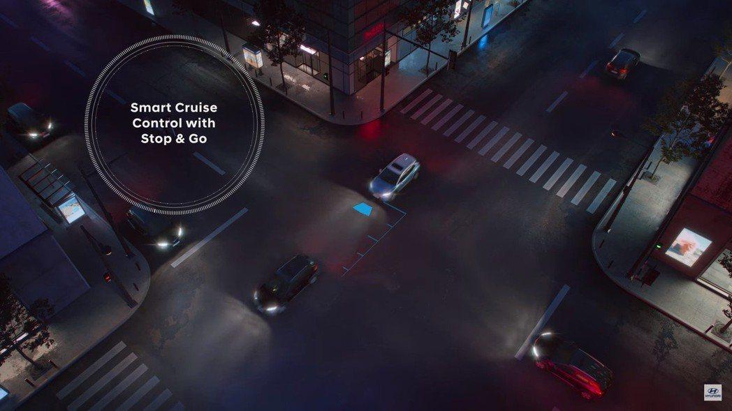 Hyundai Kona Electric配有Stop&Go智能巡航功能。 摘自...