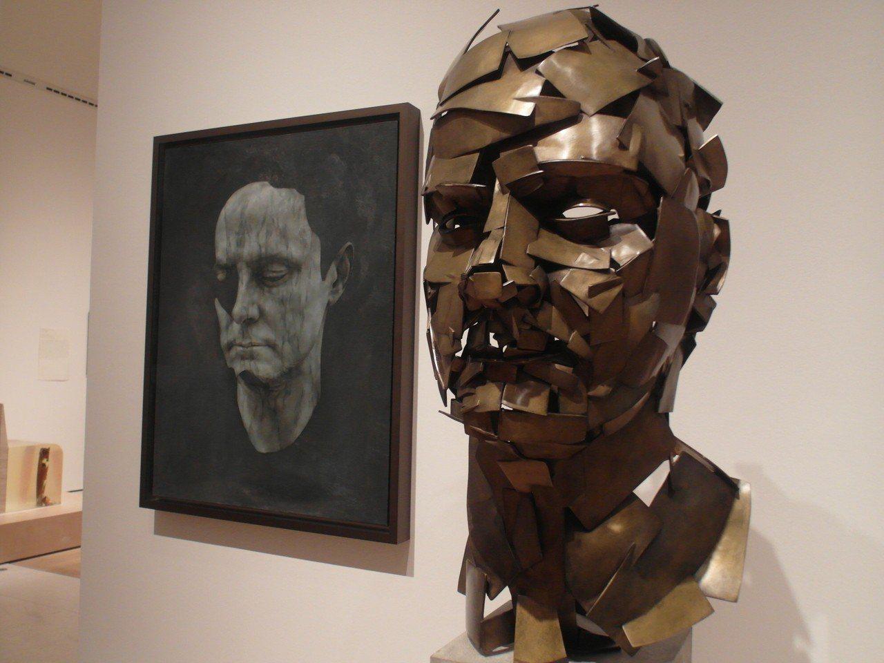 畫家喬納森約透過3D掃描及VR做出的立體自畫像。 記者何佩儒
