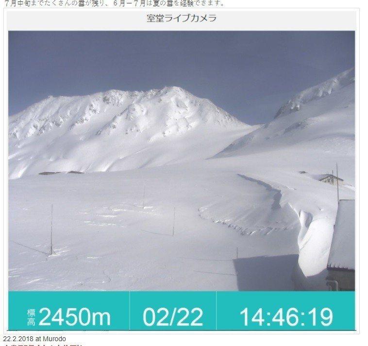 立山黑部官網公布2月底室堂的積雪照片。圖/擷取自立山黑部阿爾卑斯山脈路線官網。