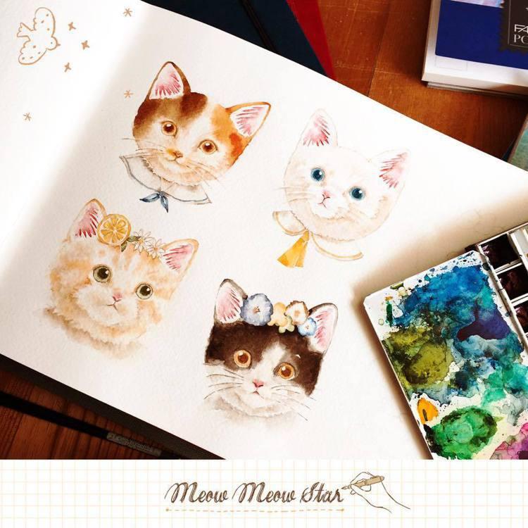 養了六貓二狗的喵星達,擬人化的動物也是她創作一大主題。圖/摘自喵星達meow m...