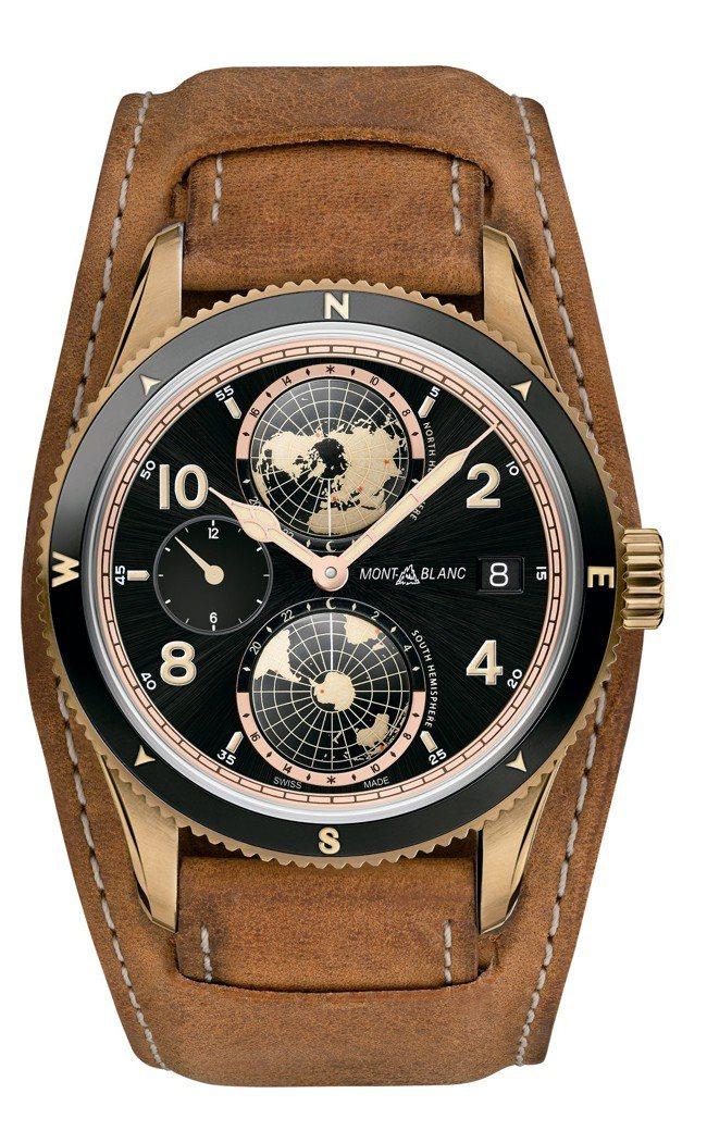萬寶龍1858 系列世界時間Geosphere青銅腕表,約20萬3,700元,限...