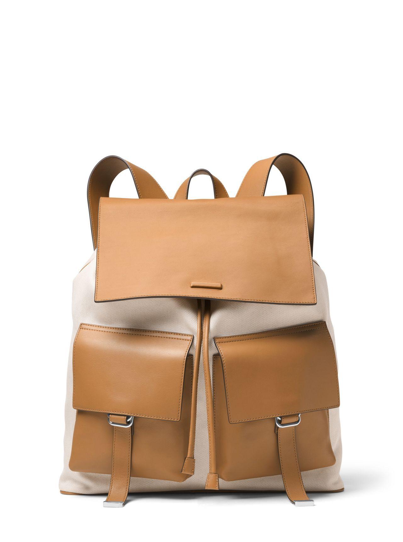 Billy駝色拼接後背包,售價46,100元。圖/MICHAEL KORS提供
