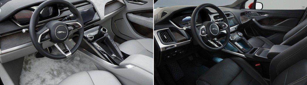 左圖為Jaguar I-Pace Concept 車室,右圖則為量產版Jaguar I-Pace 車室。 摘自Jaguar