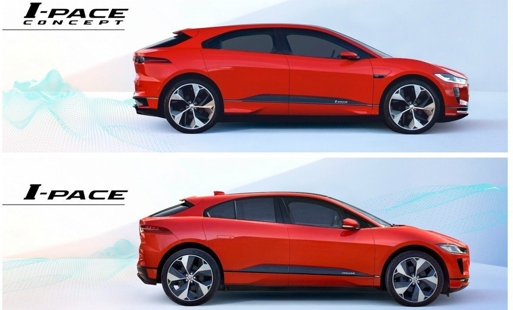 上圖為Jaguar I-Pace Concept,下圖則為量產版Jaguar I...