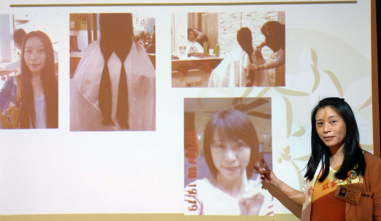 衛福部台中醫院營養室主任盧靜詩說明,她第一次捐髮後,改成亮麗短髮,同事探問得知後...