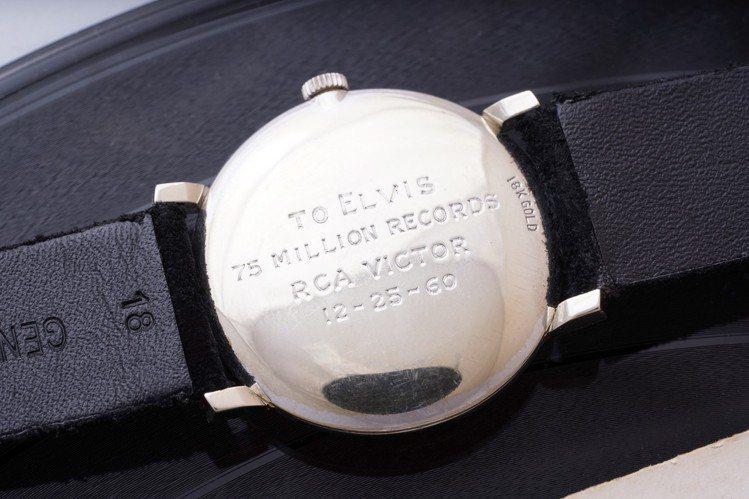 貓王Elvis Presley所藏的歐米茄18k白金鑲鑽腕表,底蓋鐫刻有字樣紀念...