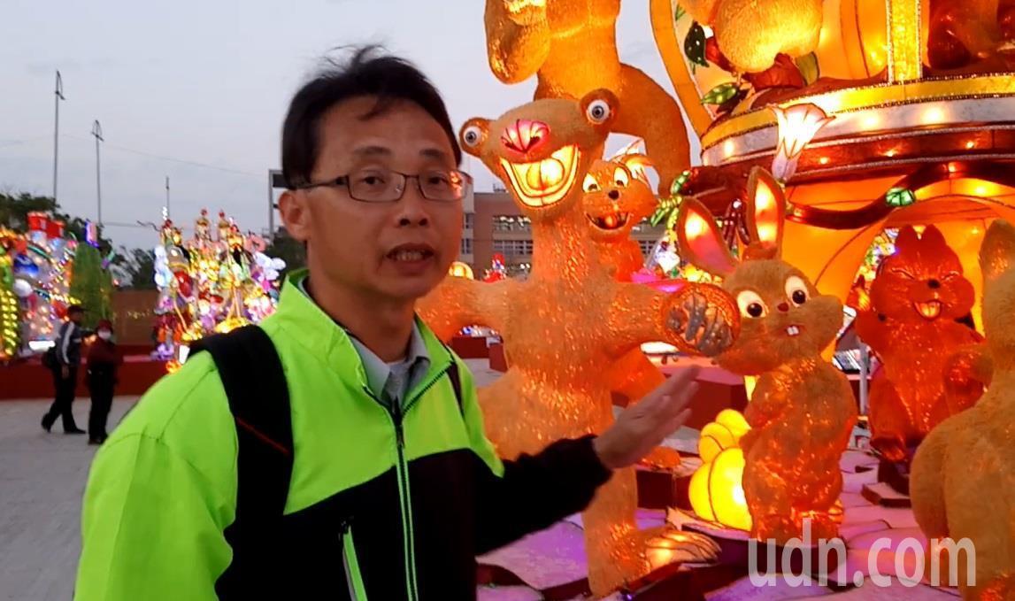 莊政道推薦,來看台灣燈會不可錯過,用百萬根牙籤拼貼成的「頑皮世界」。 記者卜敏正...