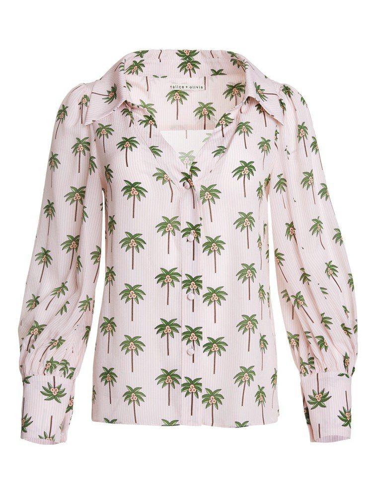 椰子樹印花襯衫,15,500元。圖/alice + olivia提供