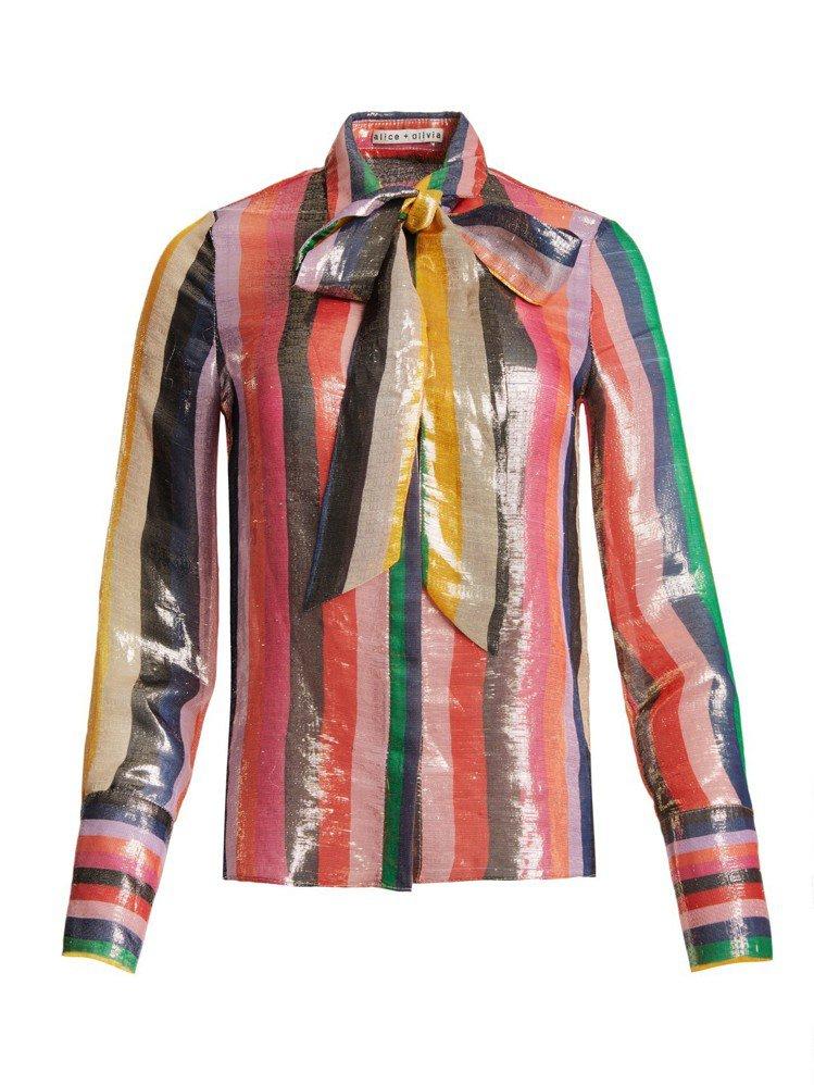 彩色條紋襯衫,16,500元。圖/alice + olivia提供