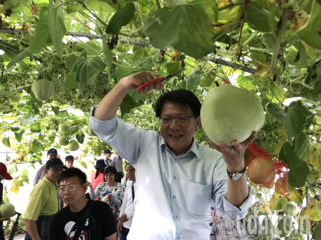 屏東熱博最後一天也有「採果樂」活動,由屏東縣長潘孟安和民眾一起採瓜慶祝豐收。記者...