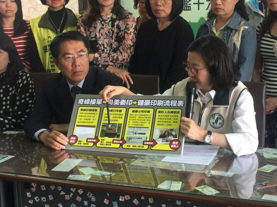 立委黃偉哲(左)在新營服務處舉行記者會,強調黑函不是自導自演。 圖/聯合報系資料...