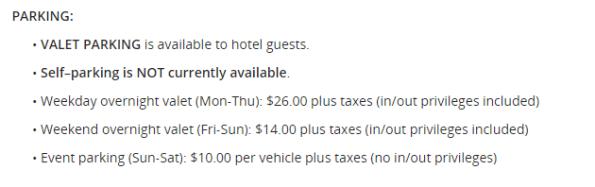酒店的停車規定。圖文來自於:TripPlus